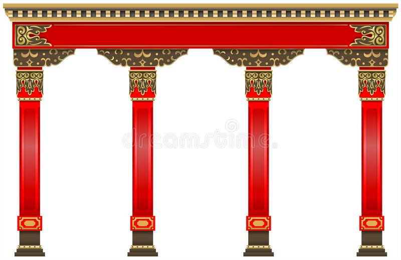 Eastern chinese arch. Carved red gold columns. The Eastern red chinese arch. Carved architecture and classic columns. Chinese style. Decorative architectural royalty free illustration