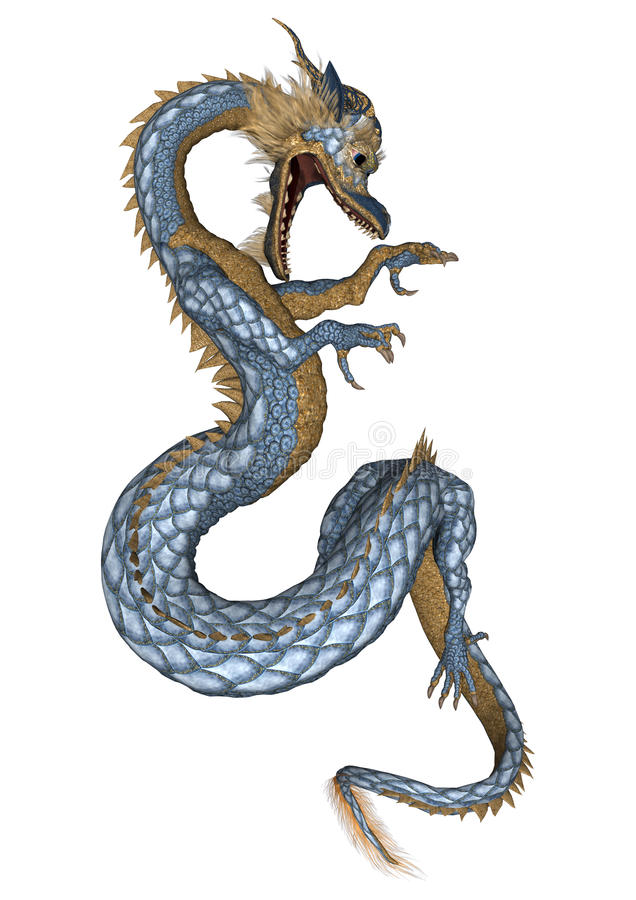 Eastern Dragon. 3D digital render of a fantasy eastern dragon isolated on white background royalty free illustration