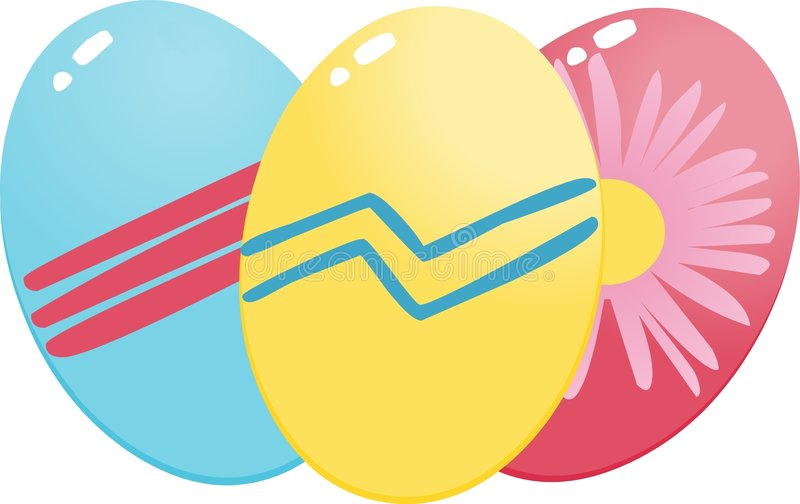 Eastern eggs(blue,yellow and red) stock photo