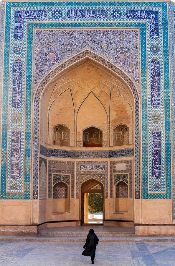 Eastern entrance of Kalon Mosque in Bukhara royalty free stock photography