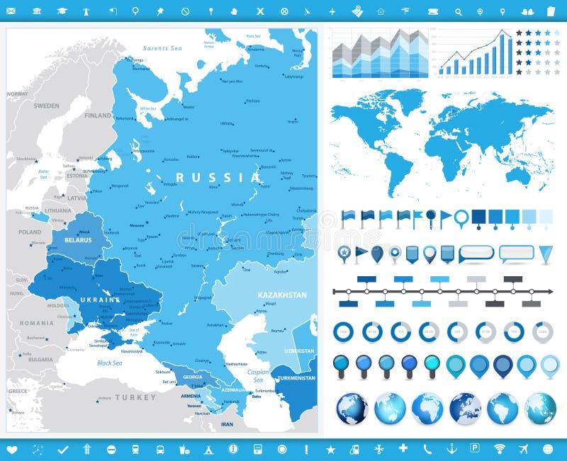 Eastern Europe översikt och infographic beståndsdelar stock illustrationer