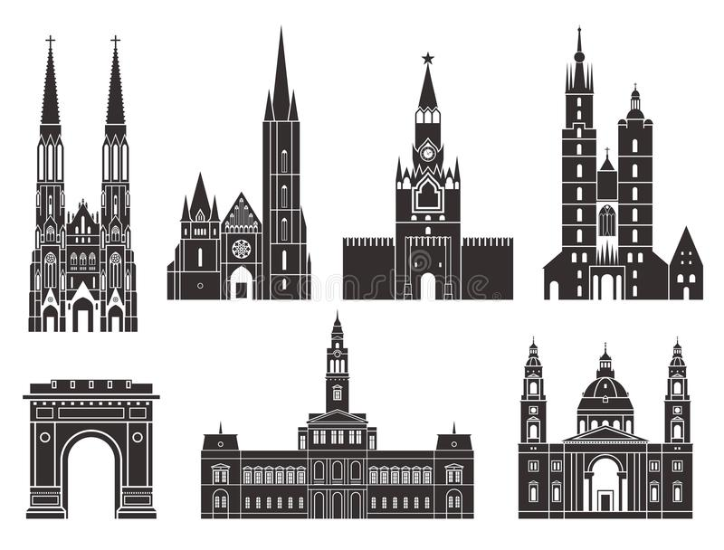 Eastern Europe Europeiska byggnader på vit bakgrund royaltyfri illustrationer