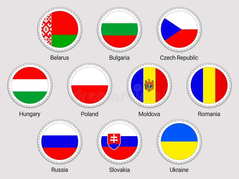 Eastern Europe flaggauppsättning runda symboler Vektorklistermärkesamling Flaggor för europeiska länder Vitryssland Bulgarien, Tj royaltyfri illustrationer