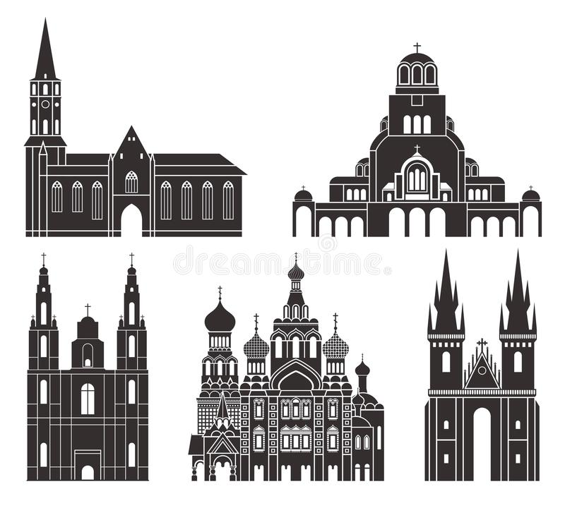 Eastern Europe. Isolated European buildings on white background vector illustration