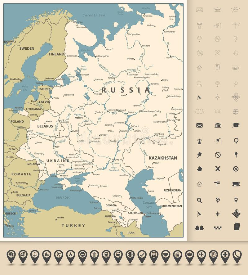 Free Eastern Europe Map And Map Pointers Collection Royalty Free Stock Photo - 117022115
