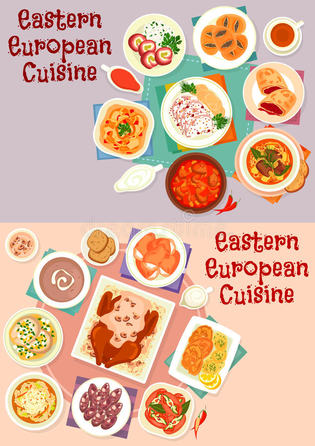 Eastern european cuisine icon set for food design stock for Conception cuisine snack