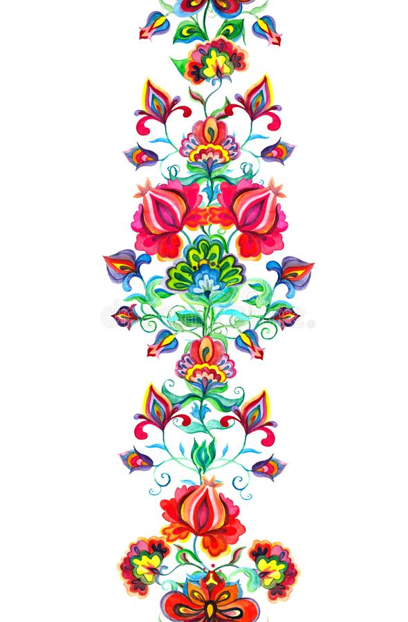 Eastern european decor - seamless floral border with ethnic flowers. Watercolor banner. Eastern european floral decor - seamless floral border with ethnic stock illustration