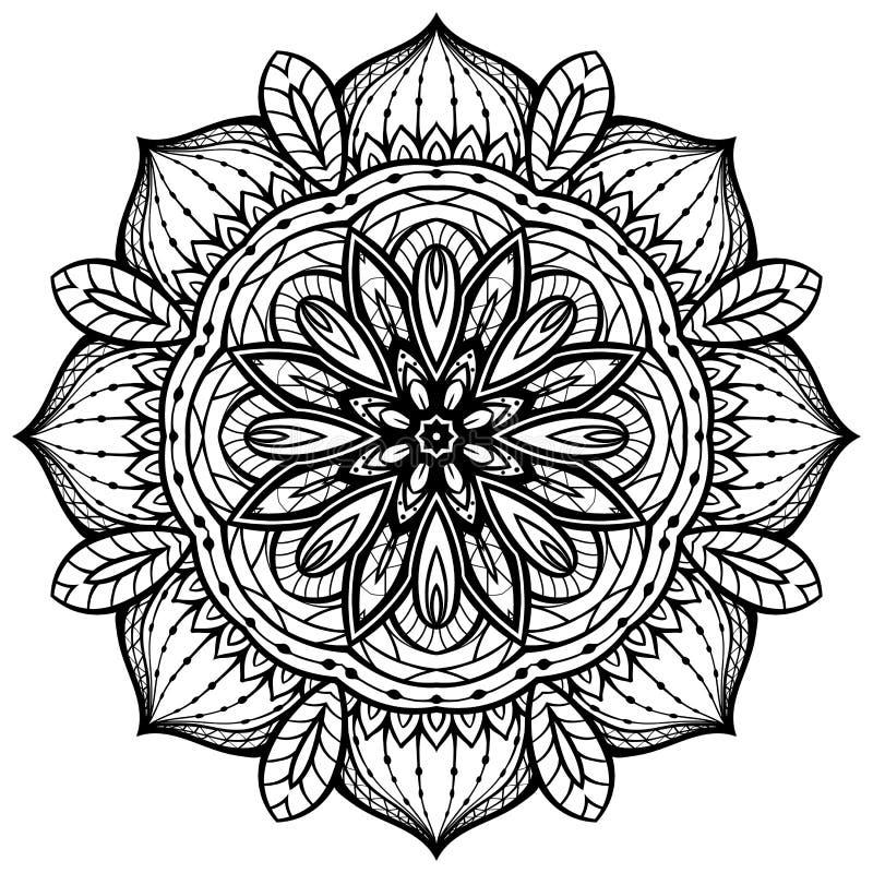 Eastern filigree mandala. Round design element of a black contour on a white background vector illustration