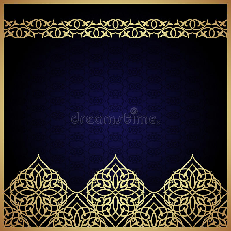 Eastern filigree ornament background. Ornate element for design. Place for text. Ornamental pattern for wedding invitations, greeting cards. Traditional stock illustration