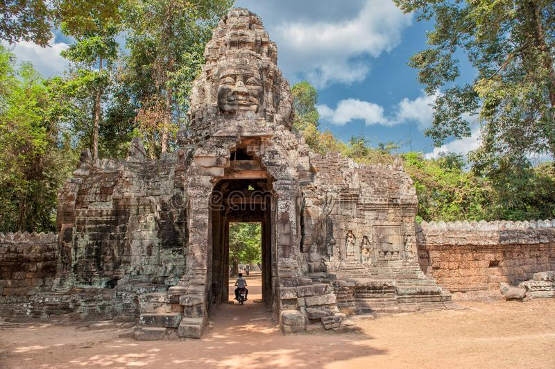 Eastern gate of Banteay Kdei in Siem Reap, Cambodia royalty free stock photo