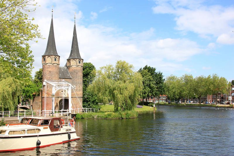 Eastern Gate and Rhine-Scheldt Canal, Delft stock images