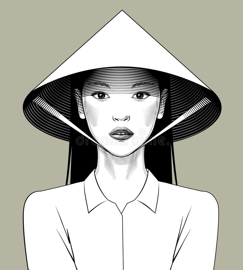 Eastern girl in asian conical hat. Vintage engraving stylized drawing. Vector illustration vector illustration