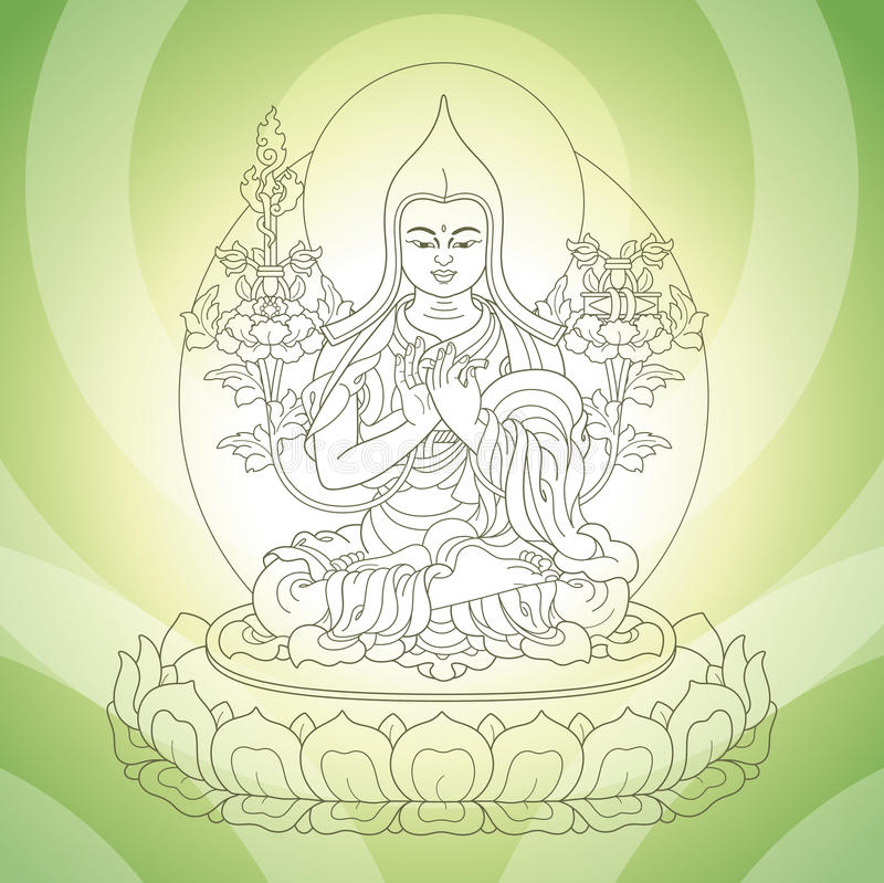 Eastern god. Sitting in the lotus on green background stock illustration