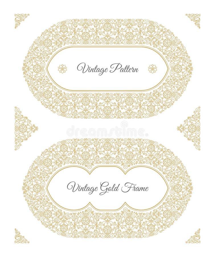 Eastern gold arabic vector lines design templates. Muslim floral frame for card and postcard vector illustration