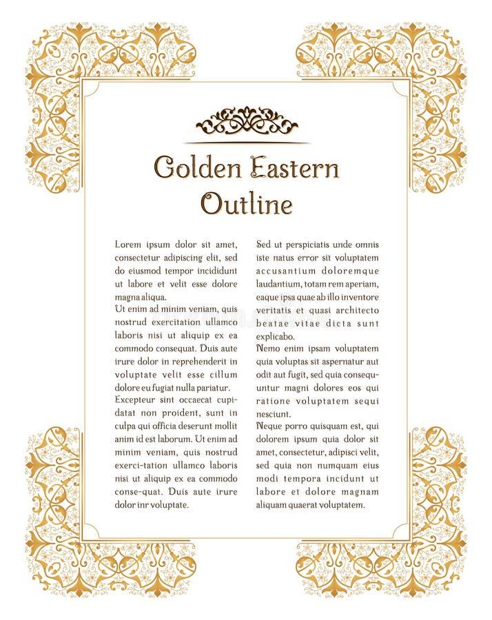 Eastern gold vintage vertical frame. Vector islamic golden elements for decoration design template stock illustration