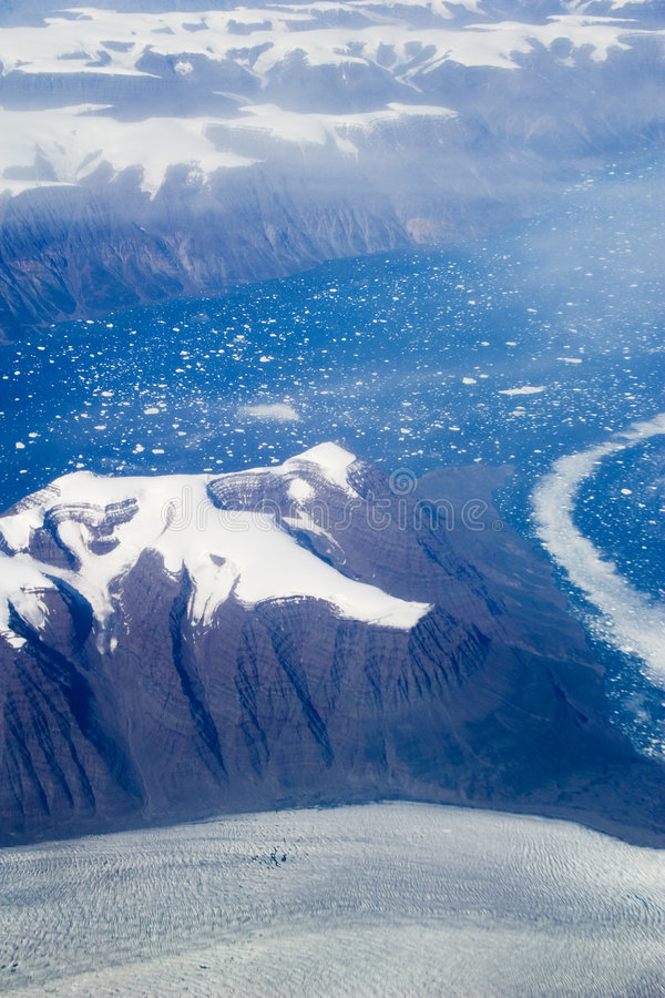 Eastern Greenland. Aerial shot of eastern Greenland stock images