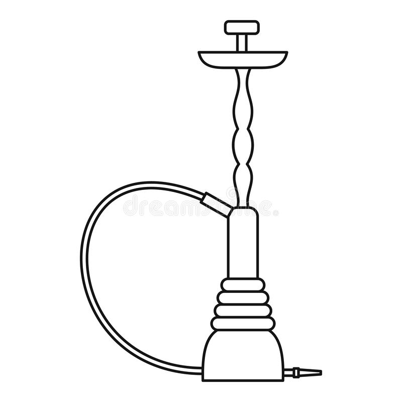 Eastern hookah icon, outline style stock illustration