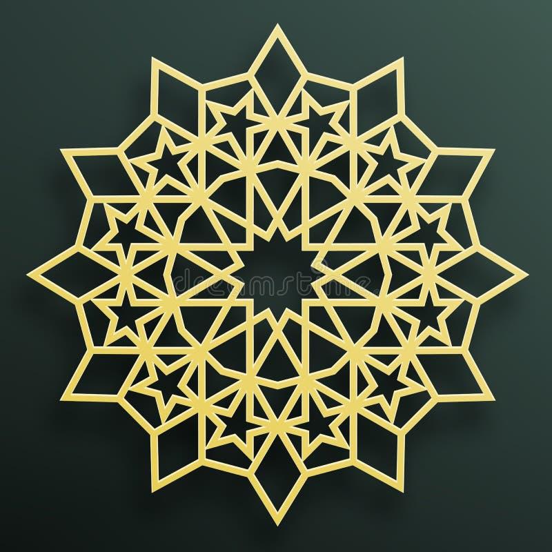Golden Arabian ornament on a dark background. Eastern Islamic framework. Vector illustration. Eastern Islamic framework. Element for decorating mosques, ceramic stock illustration