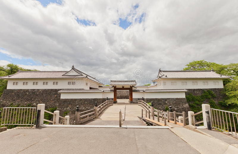 Eastern Main Gate of Second Bailey of Yamagata Castle, Japan. Reconstructed 1991 complex of Eastern Main Gate inner and outer gates and tower of Yamagata Castle stock image