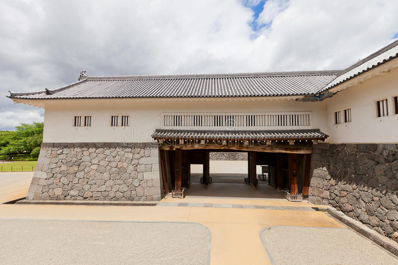 Eastern Main Gate of Second Bailey of Yamagata Castle, Japan. Reconstructed 1991 Inner Eastern Main Gate of Second Bailey of Yamagata Castle founded in 1356 royalty free stock photo