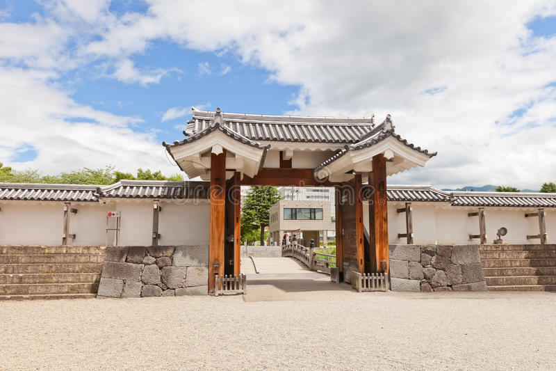 Eastern Main Gate of Second Bailey of Yamagata Castle, Japan. Reconstructed 1991 Outer Eastern Main Gate of Second Bailey of Yamagata Castle founded in 1356 stock image