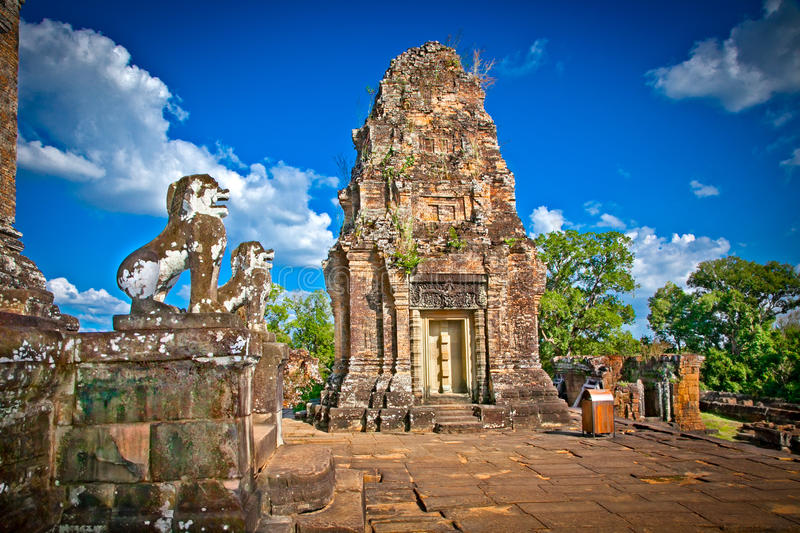 Eastern Mebon temple in Angkor wat complex, Cambodia. Built during the reign of King Rajendravarman, it stands on what was an artificial island at the center stock photo