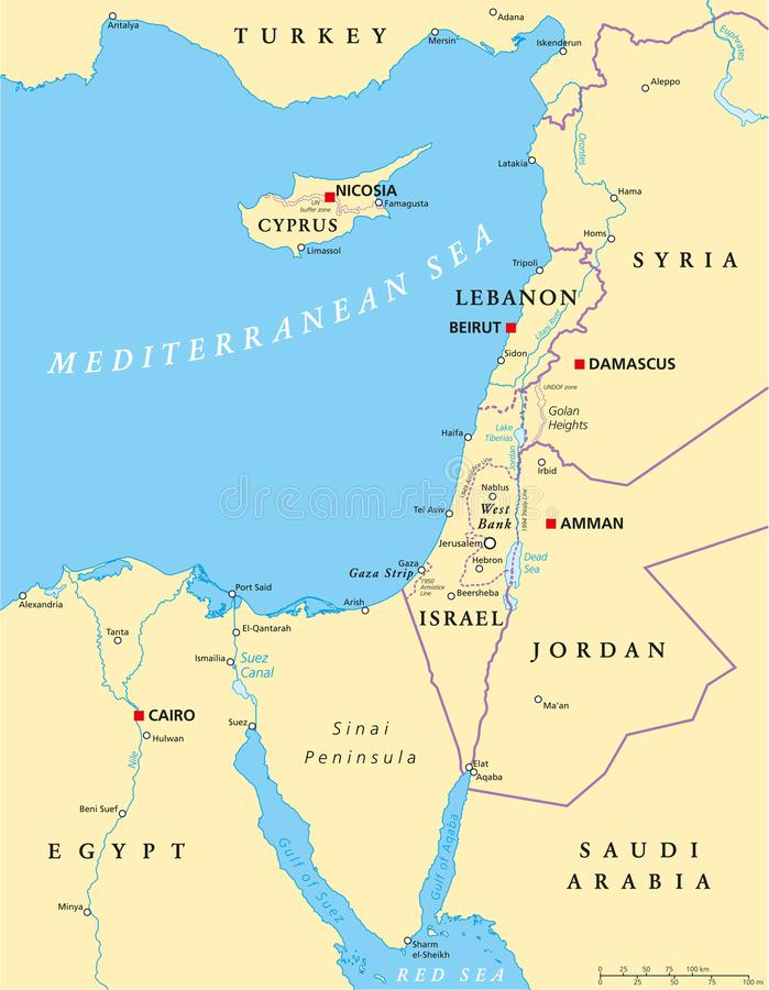 Eastern Mediterranean Political Map. With capitals national borders, important cities, rivers and lakes. English labeling and scaling. Illustration royalty free illustration
