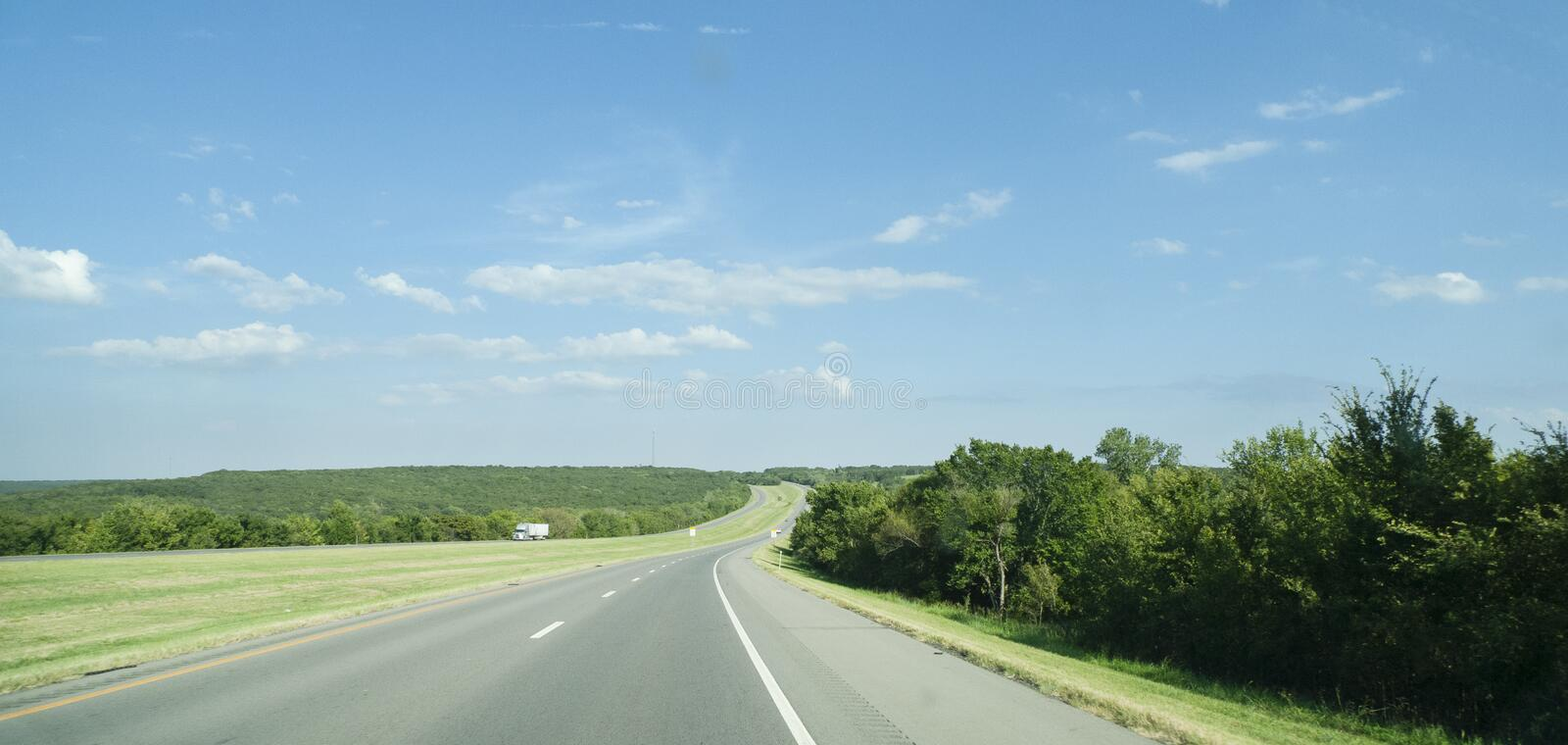 Eastern Oklahoma summer landscape with four lane highway stock photo