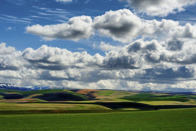 Eastern Oregon Landscape under Cloudy Skies. High desert agricultural landscape under cloudy skies in rural eastern Oregon royalty free stock images