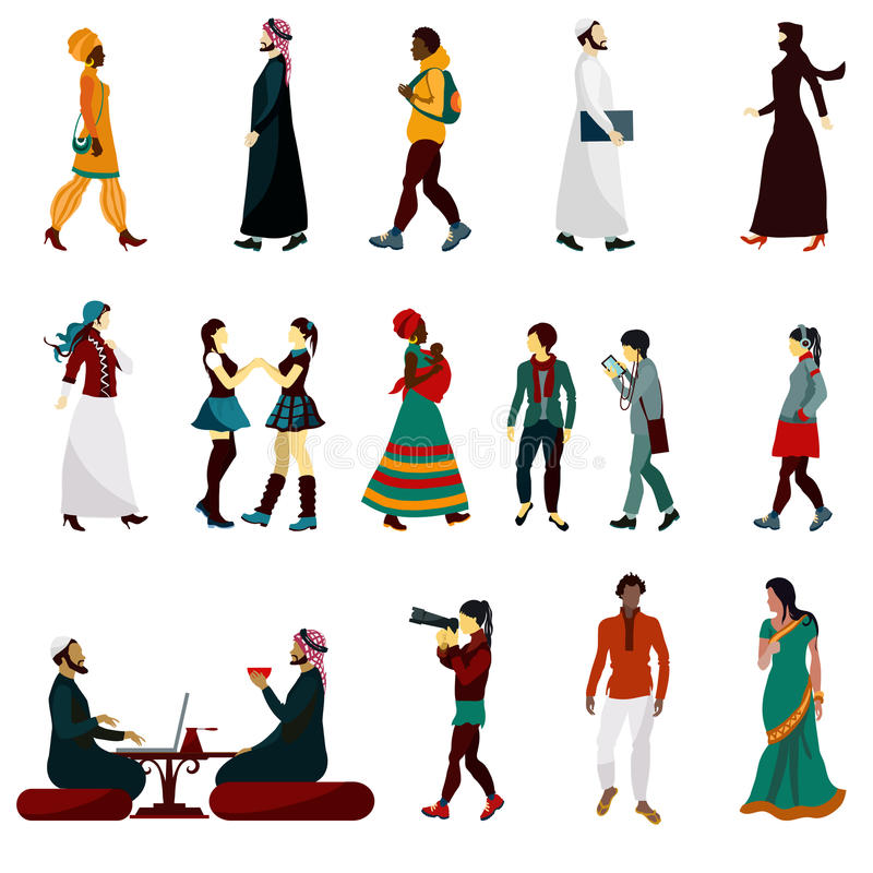 Eastern People Set. Eastern people male and female decorative icons set vector illustration stock illustration