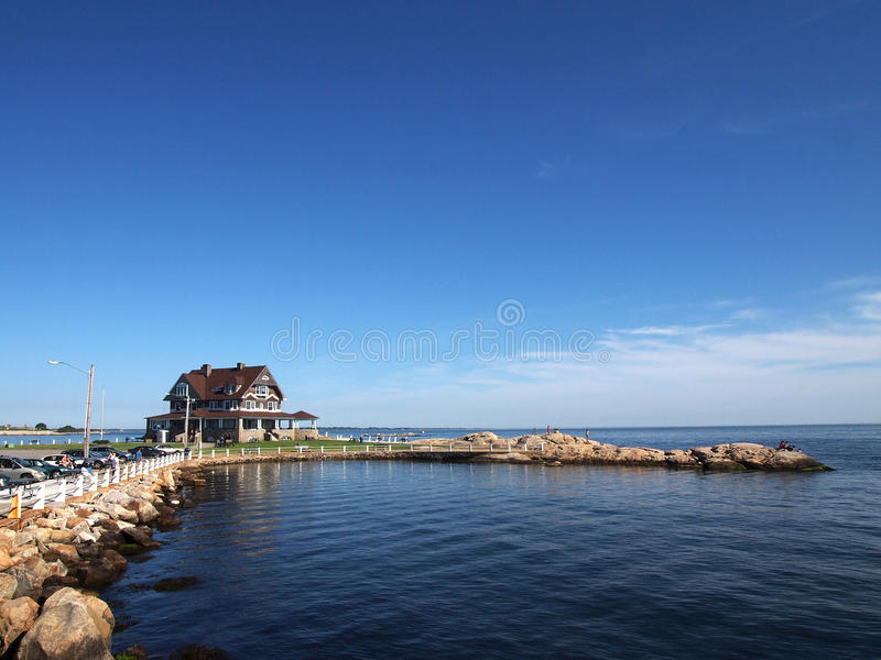 Eastern Point Beach. A small family-oriented beach at the mouth of the Thames Riverin Connecticut, the site offer showers, picnic tables, concession stand and royalty free stock photos
