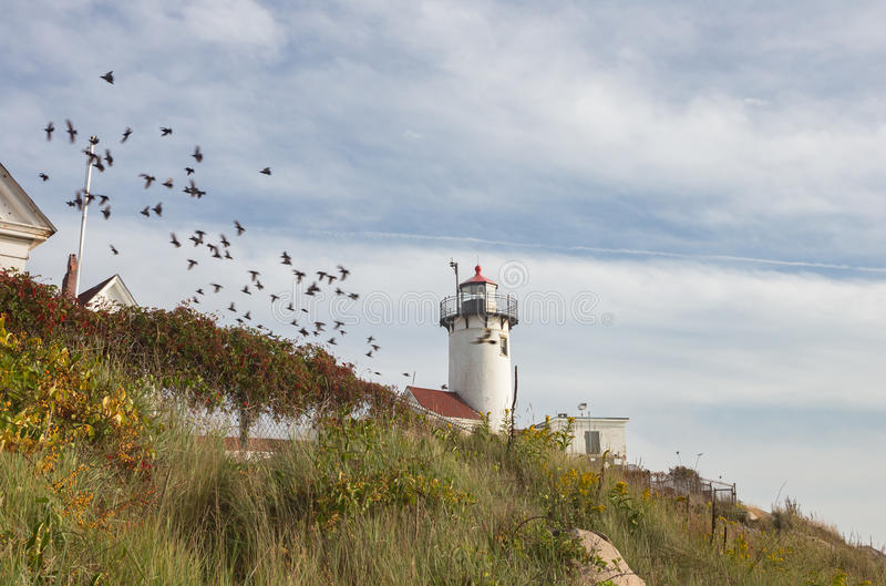 Eastern Point Lighthouse. Partial view of the Eastern Point Lighthouse in Glouchester MA royalty free stock photography