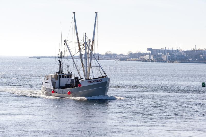 Eastern rig scalloper Discovery returning from sea trial into Buzzards Bay royalty free stock photo