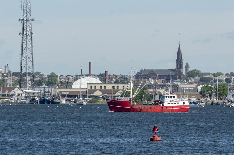 Eastern-rigged fishing boat Ambassador. New Bedford, Massachusetts, USA - June 14, 2018: Commercial fishing vessel Ambassador on Acushnet River with Pope`s royalty free stock images