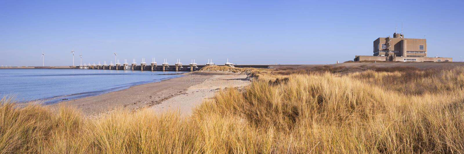 Eastern Scheldt Barrier at Neeltje Jans in The Netherlands royalty free stock photography