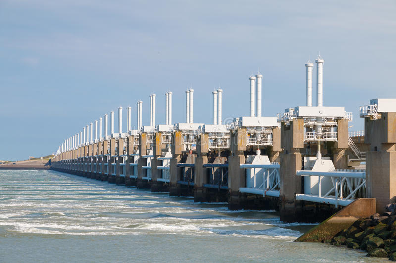 The Eastern Scheldt storm surge barrier in Zeeland, The Netherlands. The Eastern Scheldt storm surge barrier or Oosterscheldekering in Zeeland, The Netherlands royalty free stock images