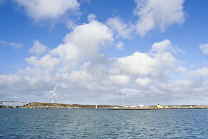 Eastern Scheldt storm surge barrier. At Zeeland in winter royalty free stock image