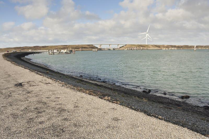 Eastern Scheldt storm surge barrier. At Zeeland in winter stock photo