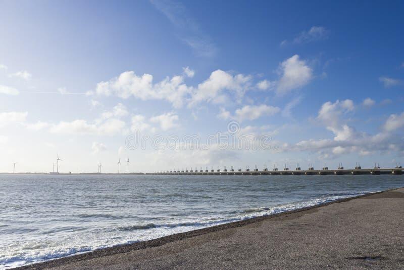 Eastern Scheldt storm surge barrier. At Zeeland in winter royalty free stock photo