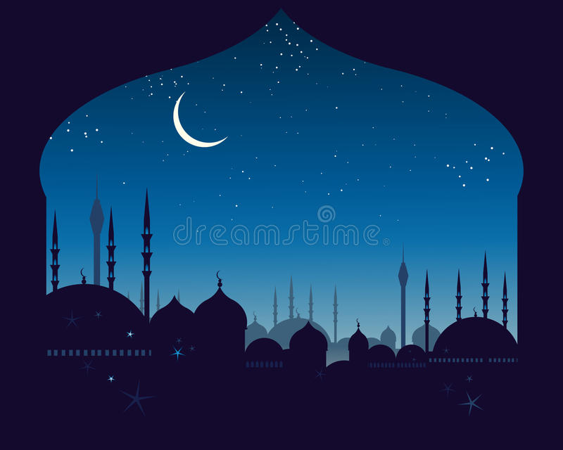 Eastern skyline. An illustration of an eastern skyline with domes and minarets under a night sky with a crescent moon and stars stock illustration