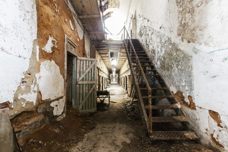 Eastern state penitentiary. Eastern state penitentiary in Philadelphia in Pennsylvania, America. Prison corridor stock photos
