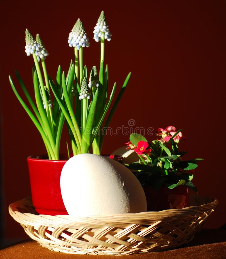 Eastern still life with flowers and an egg. Still life composed by spring flowers and a large eastern egg royalty free stock images