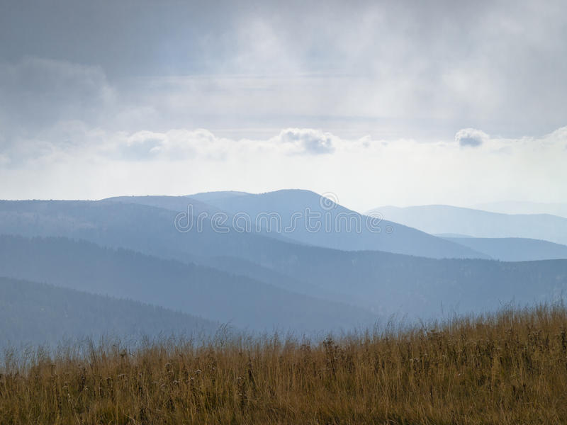 Eastern Sudetes, mountain range High Jeseník. High Ash Mountains is the second highest mountain range in the Czech Republic stock photography