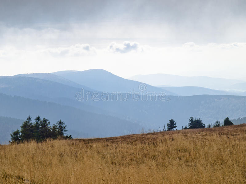 Eastern Sudetes, mountain range High Jeseník. High Ash Mountains is the second highest mountain range in the Czech Republic royalty free stock photography