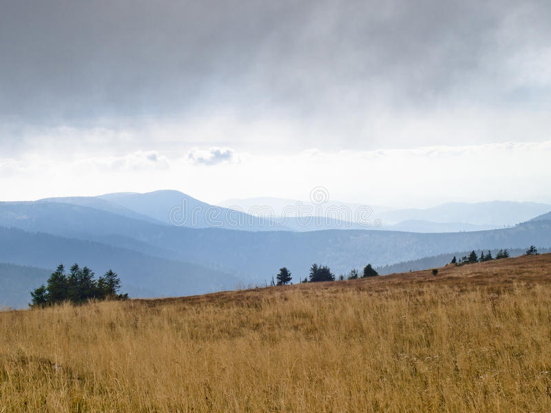 Eastern Sudetes, mountain range High Jeseník. High Ash Mountains is the second highest mountain range in the Czech Republic stock image
