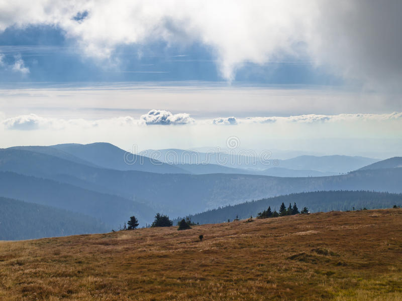 Eastern Sudetes, mountain range High Jeseník. High Ash Mountains is the second highest mountain range in the Czech Republic stock photo