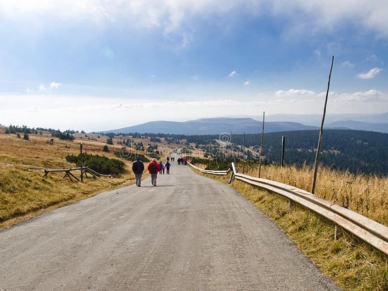 Eastern Sudetes, mountain range High Jeseník. Praded. High Ash Mountains is the second highest mountain range in the Czech Republic stock image