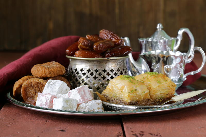 eastern sweets - baklava, dates, turkish delight royalty free stock image