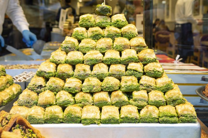 Eastern sweets in a wide range, baklava, Turkish delight with almond stock photo