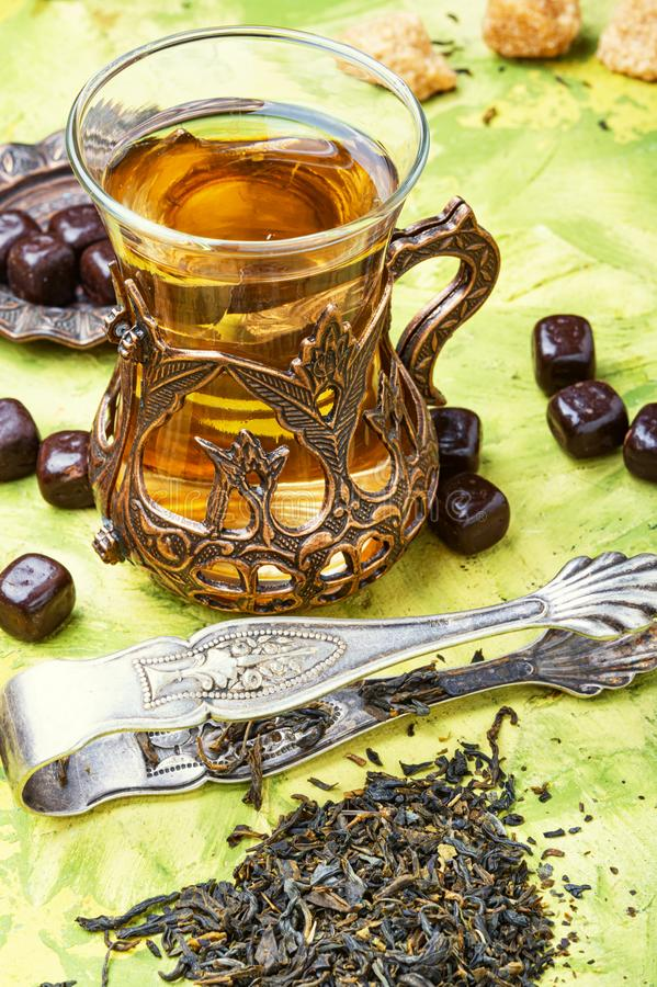 Traditional arabic tea. Eastern tea in traditional glasse.Eastern tea concept.Cup with green tea royalty free stock photos
